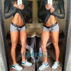 Stephanie Buckland grey Nike Pro shorts white sneakers