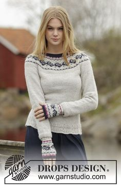 """#DROPSDesign jumper with round yoke and rose pattern in """"Alpaca"""". #knitting pattern for free online!"""