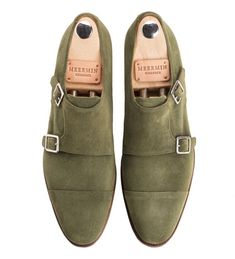 Green suede double monks, meermin style Suede Shoes, Shoe Boots, Goodyear Welt, Green Suede, Classic Collection, Cologne, Olive Green, Oxford Shoes, Dress Shoes