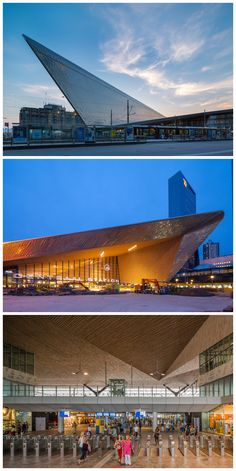 rotterdam centraal station redeveloped by team CS - Leiden, Rotterdam Architecture, Places Around The World, Around The Worlds, Amsterdam, Rotterdam Netherlands, Modern Architects, Trains, Central Station