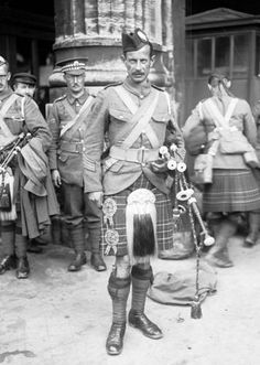 WW1  Scots Pipe Major in Paris World War Photograph