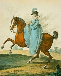 Woman Riding Side Saddle in Her Riding Habit 1801 - Courtesy of Wikipedia http://en.wikipedia.org/wiki/File:Ridinghabit.jpg