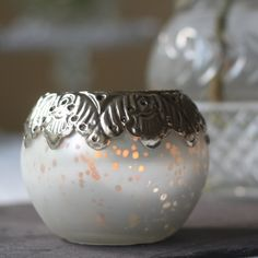 frosted white mercury glass tea light holder