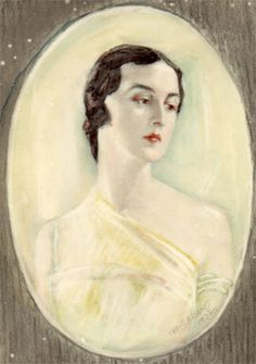 1930s Art Deco Portrait Miniature by Chris Adams. Offered by Patrick Boyd-Carpenter at Grays Antiques. www.pbcfineart.co.uk