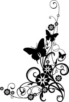 Butterflies+With+Vine+black+and+White+Clipart.jpg 1,079×1,600 pixels