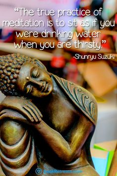 """""""The true practice of meditation is to sit as if you were drinking water when you are thirsty."""" Inspiring meditation quotes by Shunryu Suzuki and other teachers here: https://bookretreats.com/blog/101-quotes-will-change-way-look-meditation"""