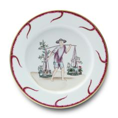Alberto Pinto Chinoiserie Buffet Plate - Alberto Pinto - Shop by Designer Buffet Plate, Red Dinnerware, Chinoiserie Motifs, Fine Linens, Bridal Gifts, China Porcelain, Decorative Items, Hand Painted, Tableware