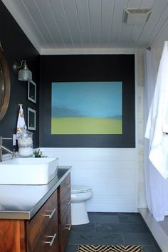 """Amanda's """"Dramatic Slate"""" Bathroom — Room for Color Contest 