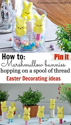 Easter table Decorating Ideas using Peeps Marshmallows, a spool of thread & toothpicks. Jessica Bruno @ www.fourgenerationsoneroof.com #diy #easter #crafts