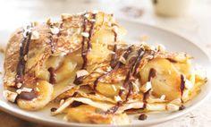 Banana Chocolate Crepes with Toasted Hazelnuts