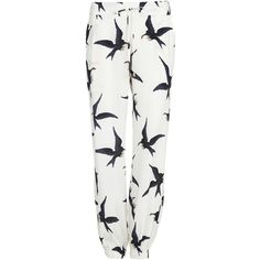 Sass & Bide Love Indeed Printed Pant (1.915 DKK) ❤ liked on Polyvore featuring pants, bottoms, jeans, pantalones, ivory, relaxed pants, relaxed fit pants, winter white pants, white trousers and pocket pants