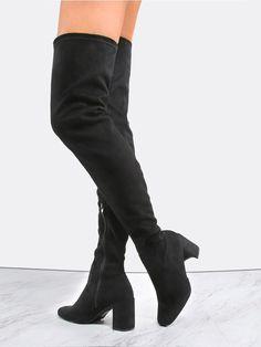 MakeMeChic - MAKEMECHIC Suede Block Heel Thigh Boots BLACK - AdoreWe.com