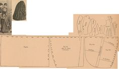 Der Bazar 1886: Black satin-merveilleux confirmand's dress; 43. right side drapery part, 44. left side drapery parts, 45. back side drapery part, 46. bodice front part, 47. and 48. side gores, 49. back part, 50. lapel, 51. collar in half size, 52. and 53. sleeve parts, 54. cuff in half size