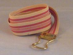 Pink Striped Cream Belt Ladies Womens Skinny by EauPleineVintage