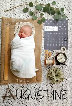 Here's our homemade birth announcement for little baby August. He looks so tiny in this photo!