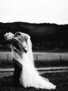 Bride & Groom - Black & White Portrait from Jeremiah And Rachel Photography - jeremiahandrachel.com . See the wedding here: http://www.StyleMePretty.com/2014/04/07/rustic-farm-to-table-wedding-in-montana - #smp