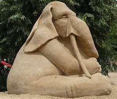 Elephant sand sculpture
