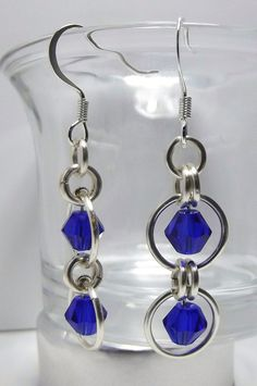 Lovely Swarovski Cobalt crystal & Chainmaille earrings. $5.00, via Etsy.