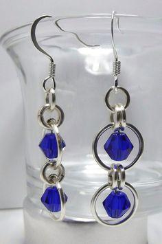 Lovely Swarovski Cobalt crystal & Chainmaille earrings. $5.00, via Etsy.
