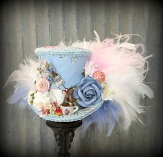 Mini Top Hat Blue Tea Hat Alice in Wonderland Mad by ChikiBird