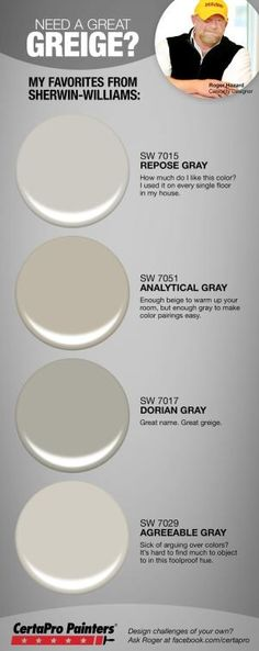*Repose Gray or Agreeable Grey - DF Looking for the right greige paint for your home? Designer Roger Hazard shares his most popular gray / beige hybrid paint colors from Sherwin-Williams. Interior Paint Colors, Paint Colors For Home, House Colors, Paint Colours, Interior Design, Interior Painting, Most Popular Paint Colors, Paint Colors For Living Room Popular, Best Dining Room Colors