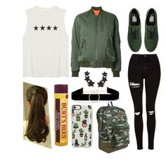 """Olive and stars!"" by haydeenievs on Polyvore featuring G.V.G.V., Topshop, Vans, Dickies, Casetify, Anissa Kermiche, Alinka, ponytail, ripped and choker"