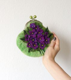 Wet Felted FLOWER Violets  coin purse Ready to Ship with bag frame metal closure Handmade  gift for her under 50 USD. $46.00, via Etsy.