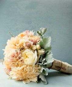 Romantic bouquet consisting of Dahlias, Roses, Blushing Bride, and Dusty Miller | by Gavita Flora / / www.gavitaflora.com