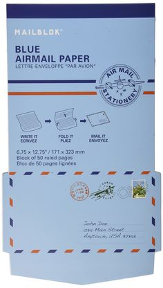 Kikkerland Mailblok Blue Airmail Paper, Block of 50 Ruled Pages