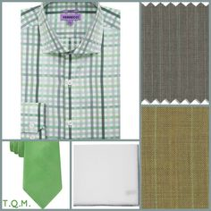 SHIRT TIE COMBO: Ferrecci(Shirt)-Michael Kors(Tie)-Simonnot(Pocket Square)-Suggested Suit Colors(Gray Green Pick Stripe & Tan Green Pinstripe)-Suit Colors On Right Side.