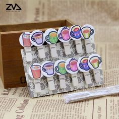 12pcs/bag kawaii tea cup cartoon Spring Wood Clips Decorations Photo Paper Clip party Decoration Clips cute stationery #Affiliate