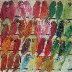 """Hunt Slonem """"Lories"""" oil on canvas 48x48"""