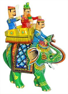 King Sitting on Royal Elephant with Boduguard and Mahut - Kondapalli Doll  (Wood)
