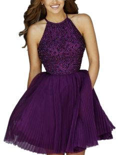 Mollybridal Women's Halter Ball Gown Short Homecoming Prom Dresses Purple 2