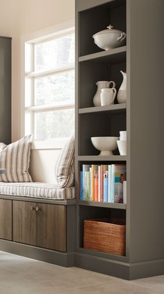 Kitchen Design Idea: Create a cozy seating nook and functional storage area with cabinetry from Martha Stewart Living Kitchens at The Home Depot.