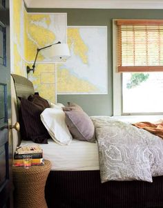 Suzie: Southern Living - Green 7 yellow boy's bedroom design with bamboo roller shade, woven ...