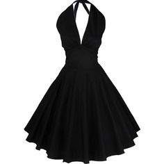 Partiss Women 50s Retro Vintage V-neckline Halter Bubble Dress ❤ liked on Polyvore featuring dresses, v neck dress, v-neck dresses, halter-neck dress, halter neck dress and retro dress