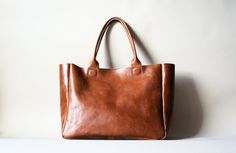 Brown Leather Heirloom Tote. By ribandhull