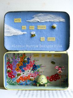 """Love is the Honey"", Bee Storybox, £150, Vintage upcycled sculpture by Little Burrow Designs, Claire Read.  Upcycled / recycled /reworked vintage sculpture. Textiles, embroidery, mixed media, assemblage, wirework, tin art, altered tin art, www.littleburrowdesigns.co.uk www.facebook.co.uk/littleburrowdesigns"