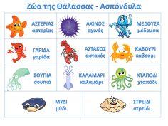 Νηπιαγωγός για πάντα....: Ζώα της Θάλασσας: Πίνακες Αναφοράς