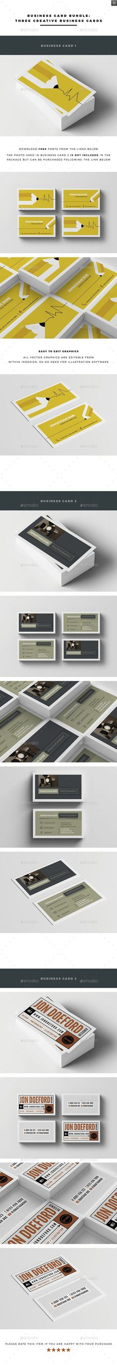 Business Card Bundle - Creative Business Card Template InDesign INDD. Download here: http://graphicriver.net/item/business-card-bundle/12612776?s_rank=1745&ref=yinkira