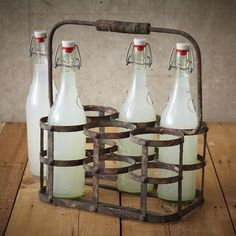 Vintage style bottle holder made from distressed iron.  Charming addition to your kitchen, priced £36 from www.ellajamesliving.co.uk