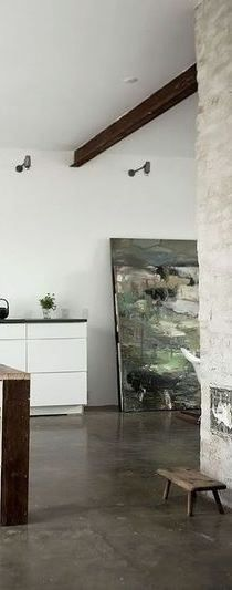 Olive green painting, danish home from bolig magasinet.