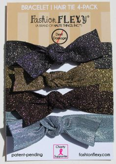 """#Sparkly #Metallic & Solid Fashion FLEXY® #hairties that double as #bracelets... """"#Haute Nights 4"""""""