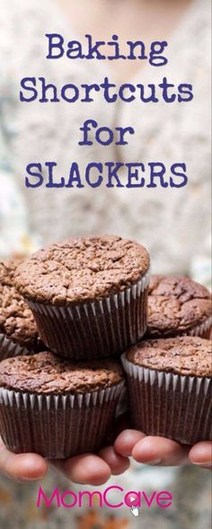 Hate baking or just too busy to bake? Here are some easy, cheap, and maybe even entertaining baking shortcuts for Slacker Moms. It's Slacker Mom's Guide to Baking from MomCaveTV! Easy Desserts, Delicious Desserts, Yummy Food, Snack Recipes, Dessert Recipes, Snacks, Dessert Ideas, Baking Cupcakes, Chocolate
