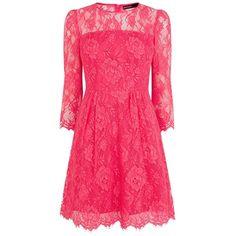 Karen Millen Beautiful Lace Dress, Fuchsia found on Polyvore