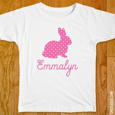 Chickabug - Pink Easter Bunny Iron-On (Shirt or Onesie), $9.00 (($))
