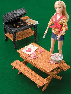 "Picnic Set/ super way to have a picnic with Barbie / intermediate / 7""W x 4.25""H x 6-5/8""D (table) grill 5.25""W x 5-1/8""H x 3-5/8""D/ PLASTIC CANVAS"
