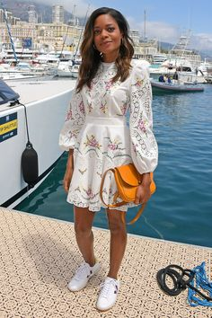 EmRata's Romantic Dress-and-Sneakers Outfit Is All We Want to Wear Right Now Dress And Sneakers Outfit, Overalls Outfit, Dress Outfits, Sneakers Fashion, Off White Dresses, Nice Dresses, Celebrity Dresses, Celebrity Style, Yellow Floral Dress