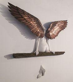 "moshita: "" Icarus had a sister "" Masters & Munn have won the global 'Rising Star Award' at this year's Print Show (at London, Paris and New York) for our sculpture 'Icarus had a Sister'. Art Sculpture, Wall Sculptures, Angel Art, Wall Decor, Wall Art, State Art, Decoration, Drawings, Encaustic Art"